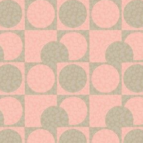17-08A Coral Pink Orange Blush Taupe Tan Brown Drunkards path Cheater quilt Whole Cloth _ Miss Chiff Designs 17-08
