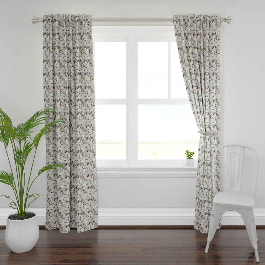 Plymouth Curtain Panel featuring Call of the Mountains (ochre) SML by nouveau_bohemian