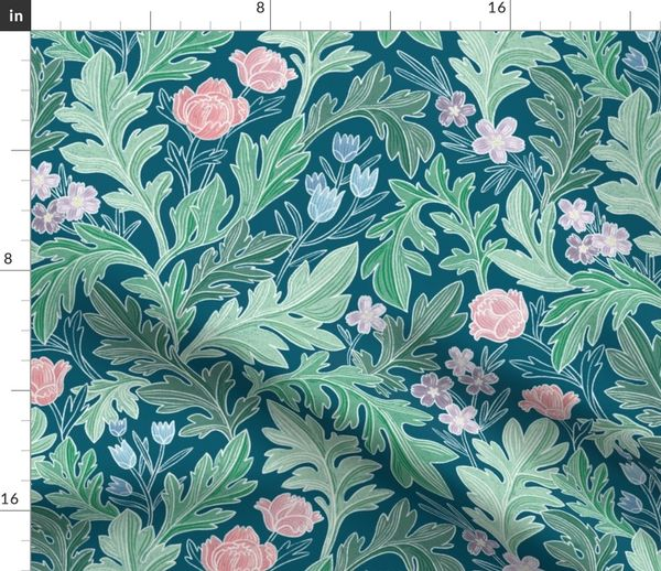 fabric by the yard victorian vintage floral pattern