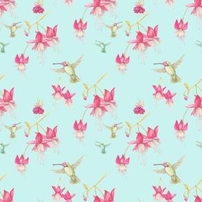 "10"" Fuchsia and Hummingbirds"