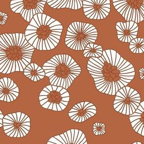 Colorful retro summer blossom scandinavian vintage style florals illustration print in copper