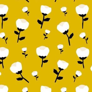 Paper cut cotton boll flower autumn bloom botanical garden theme mustard yellow