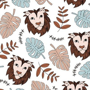 King of the jungle love lion safari garden sweet hand drawn lions pattern fall winter copper brown blue