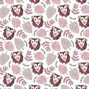 King of the jungle love lion safari garden sweet hand drawn lions pattern fall winter pink maroon SMALL
