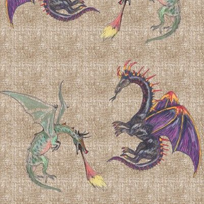 Purple and Green Dragons on Linen Texture