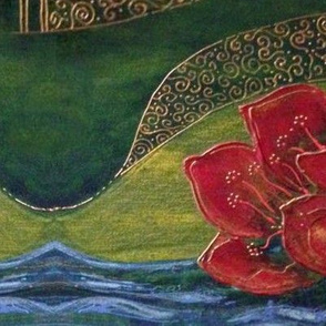GreenwomanRed floral w River