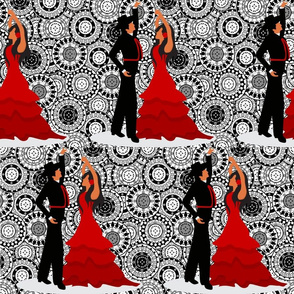 Salsa Flamingo Spanish Dancers on Black and White Mandalas