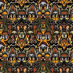 African Masks Mustard