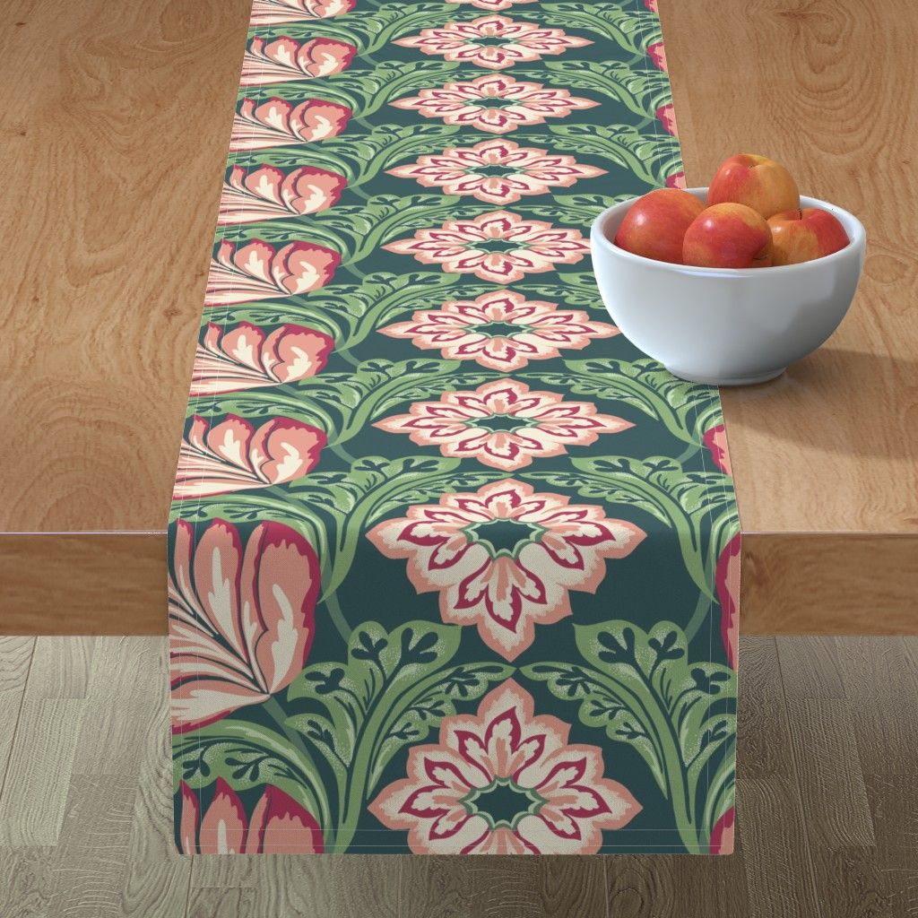 Minorca Table Runner featuring Victorian era formal floral by patternanddesign