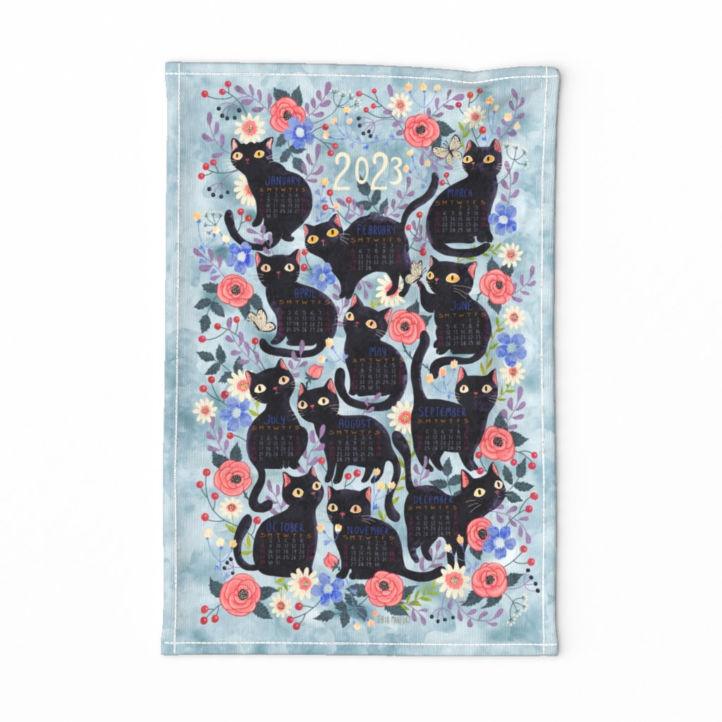 Special Edition Spoonflower Tea Towel featuring cat-calendar-teatowel-blue by gaiamarfurt