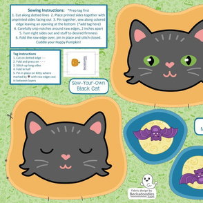 Sew Your Own Halloween Black Cat Pillow