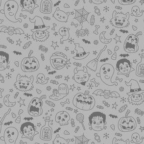 Halloween Doodles on Gray