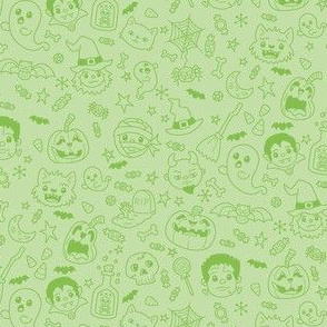 Halloween Doodles on Green