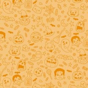 Halloween Doodles on Orange