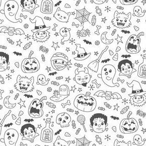 Halloween Doodles on White