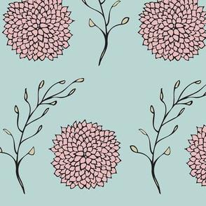 Vintage Floral Pattern Blue and Pink