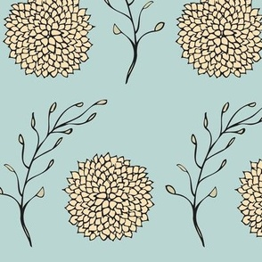Vintage Floral Pattern Blue and Yellow