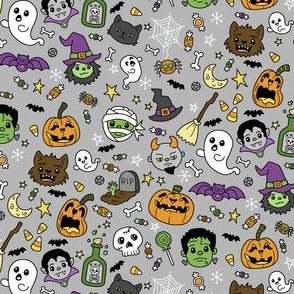 Halloween Doodles on Gray with Colors