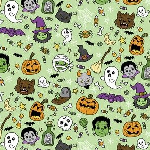 Spooky cute full color doodles on a Gree background