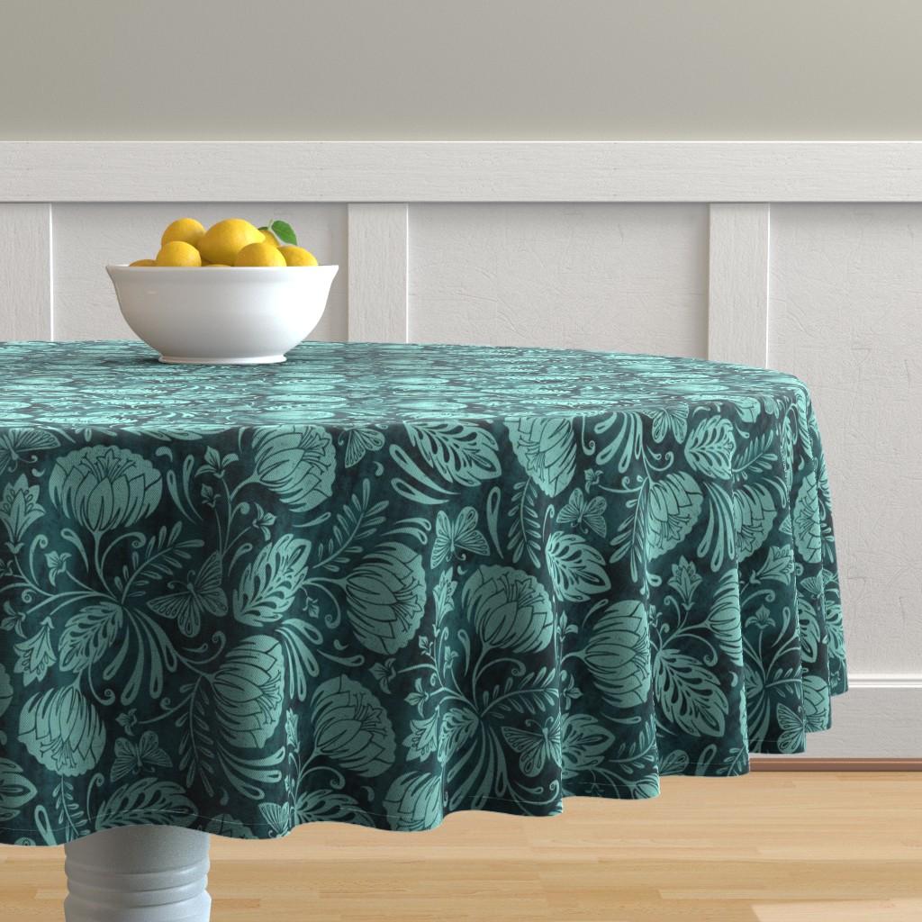 Malay Round Tablecloth featuring Arabella - Damask Aqua by heatherdutton