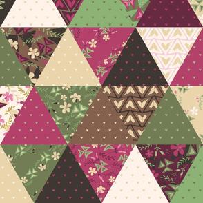 Cheater Quilt Triangles Purple Shamrock