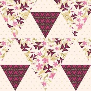 Cheater Quilt Triangles Purple Shamrock / Light