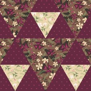 Cheater Quilt Triangles Purple Shamrock / Dark