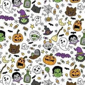 Halloween Doodles on White with Colors