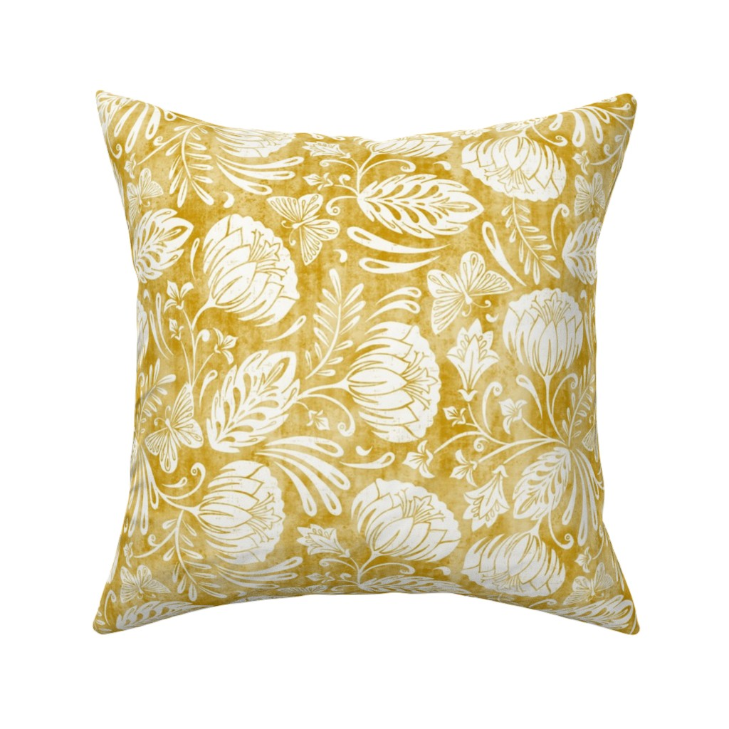 Catalan Throw Pillow featuring Arabella - Damask Mustard Yellow by heatherdutton