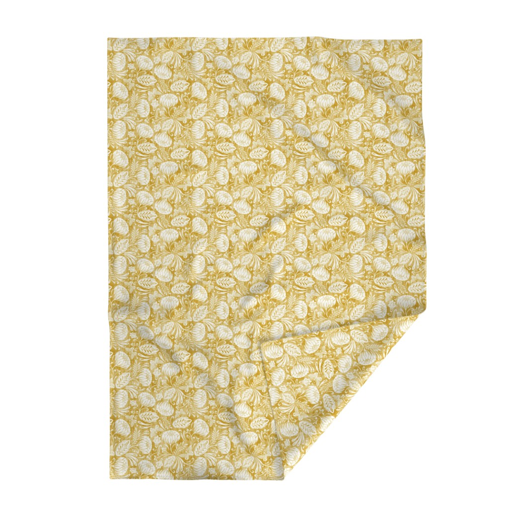 Lakenvelder Throw Blanket featuring Arabella - Damask Mustard Yellow by heatherdutton