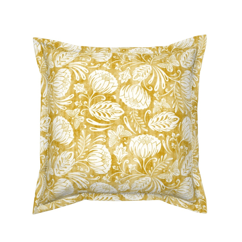 Serama Throw Pillow featuring Arabella - Damask Mustard Yellow by heatherdutton