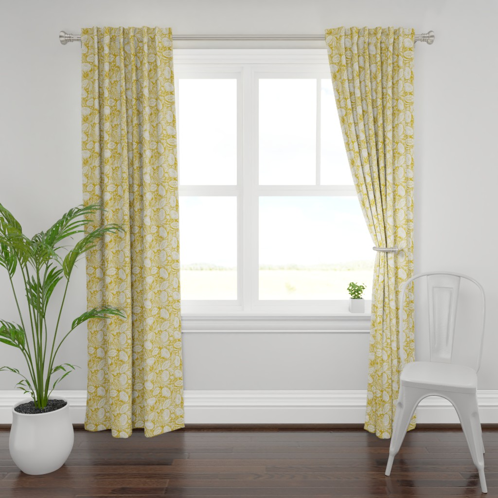 Plymouth Curtain Panel featuring Arabella - Damask Mustard Yellow by heatherdutton