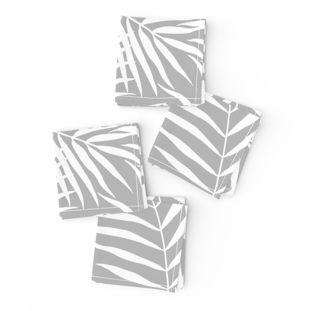 Frizzle Cocktail Napkins featuring Palm Print White on Gray by always_june