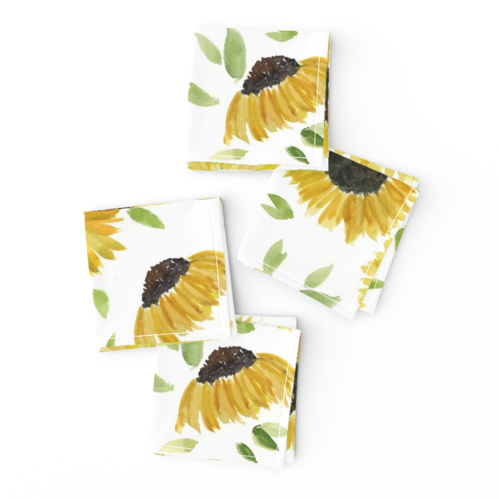 Frizzle Cocktail Napkins featuring sunflowers by rosemaryanndesigns