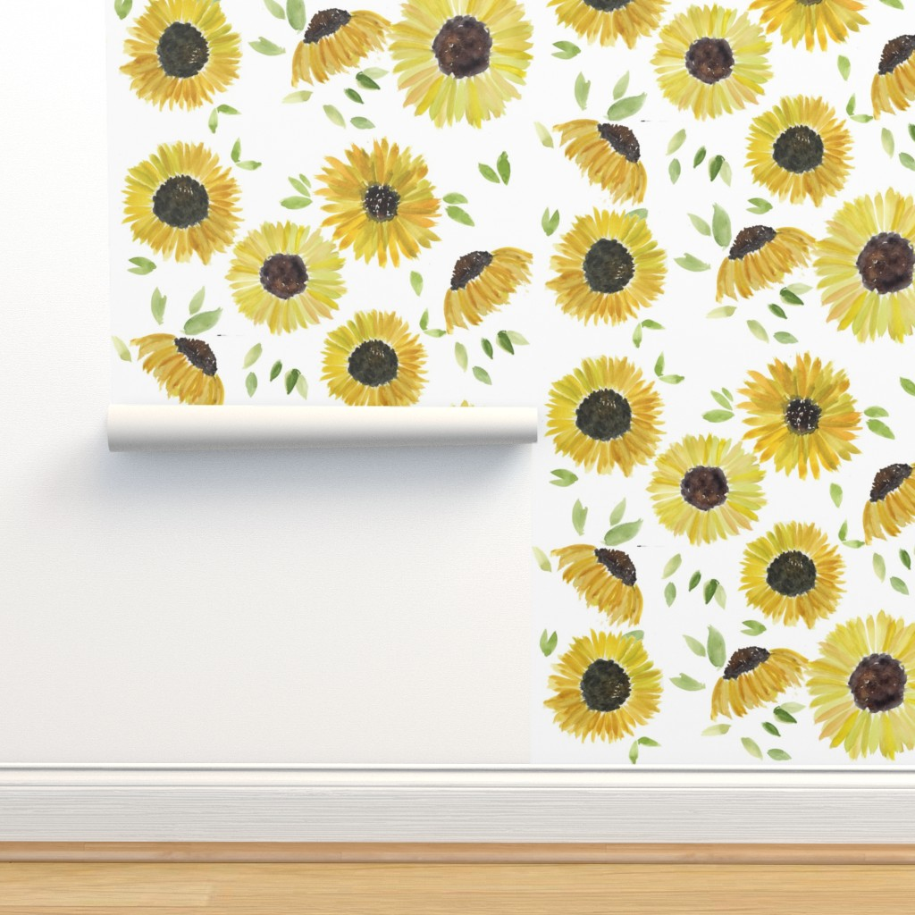 Isobar Durable Wallpaper featuring sunflowers by rosemaryanndesigns