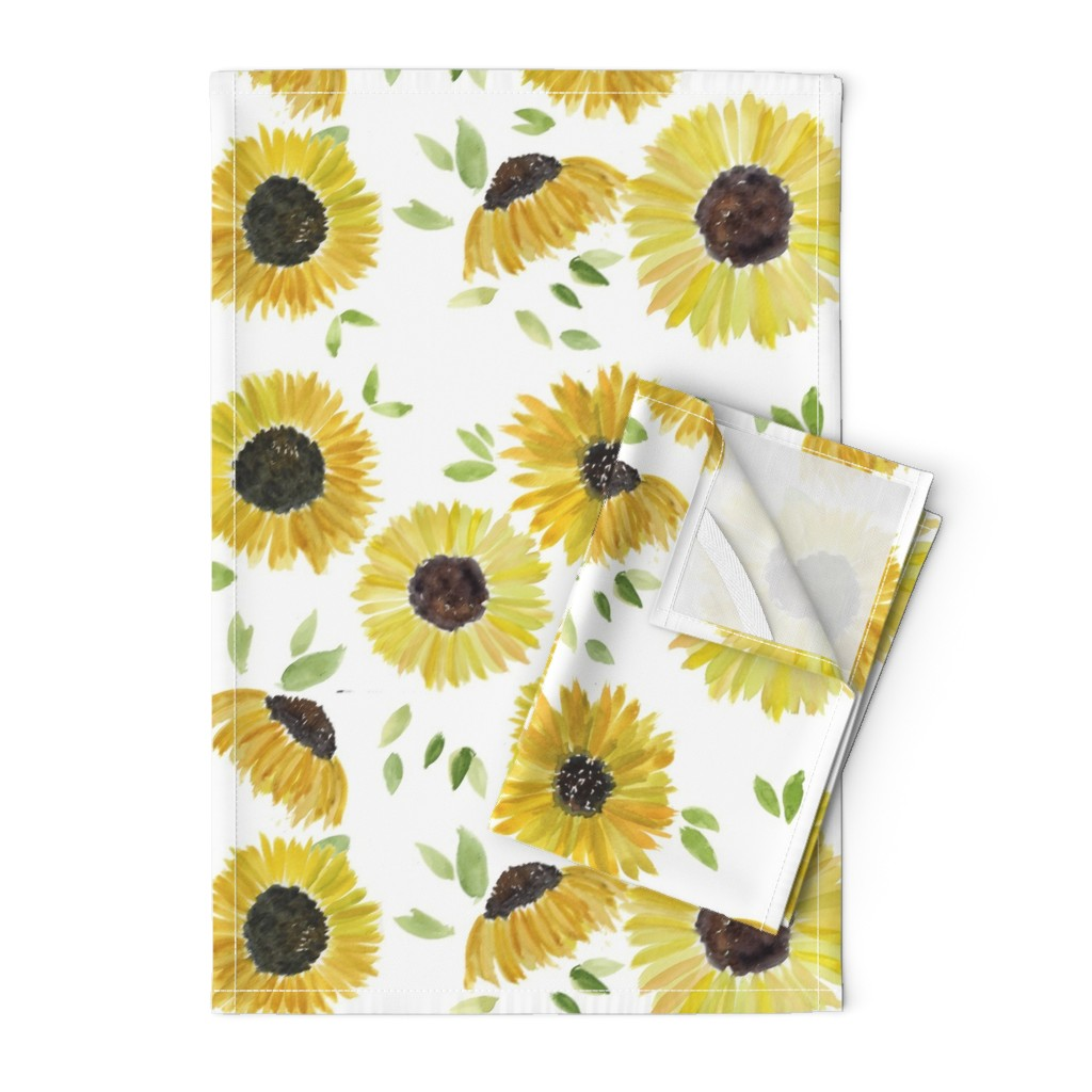 Orpington Tea Towels featuring sunflowers by rosemaryanndesigns