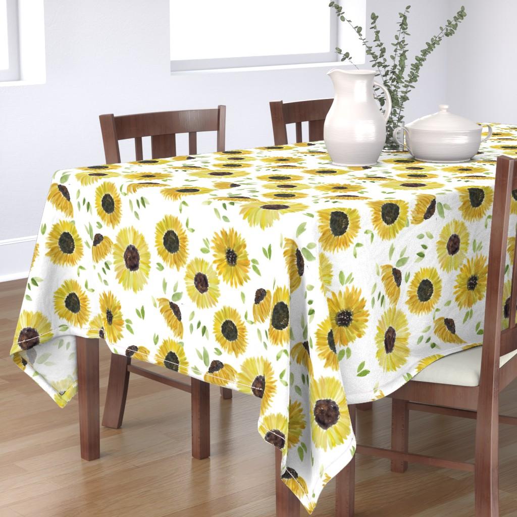 Bantam Rectangular Tablecloth featuring sunflowers by rosemaryanndesigns