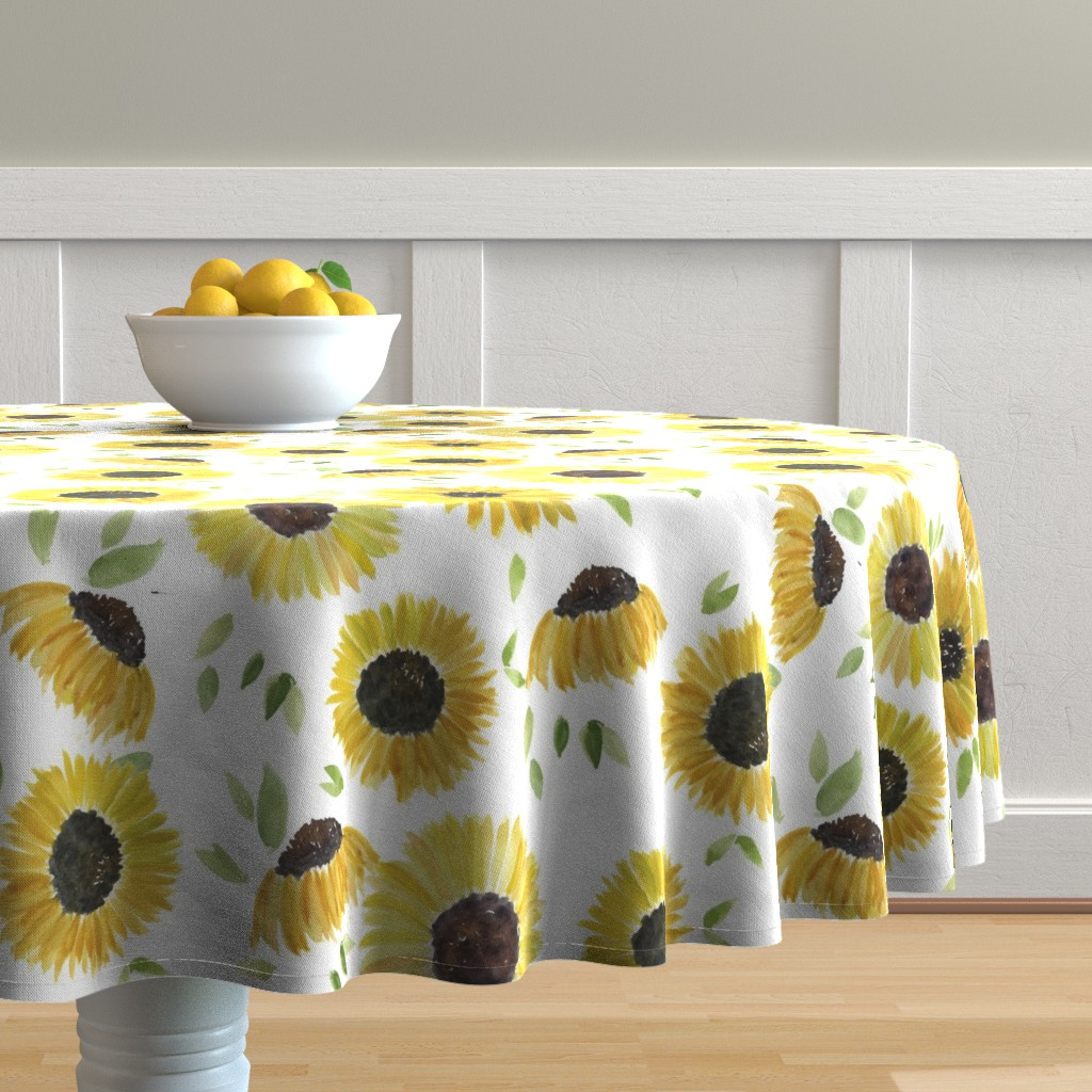 Malay Round Tablecloth featuring sunflowers by rosemaryanndesigns