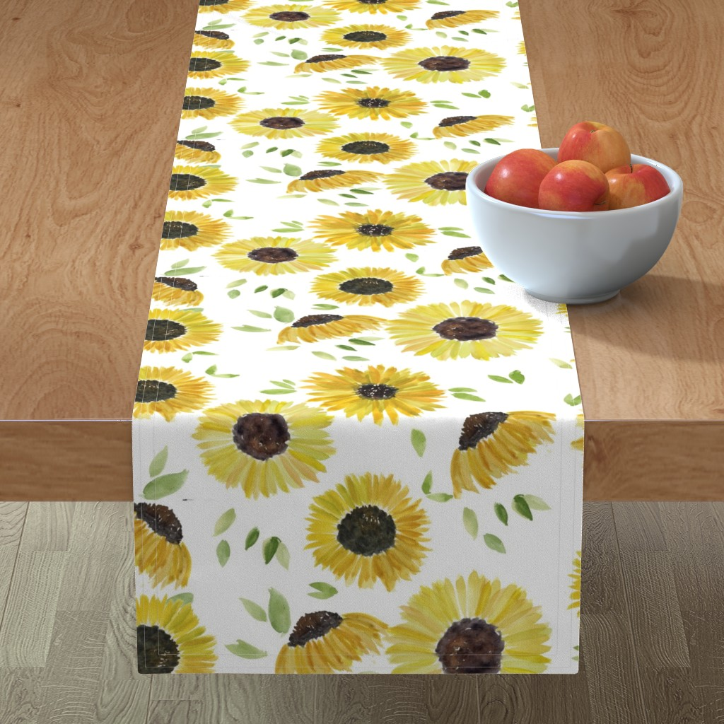 Minorca Table Runner featuring sunflowers by rosemaryanndesigns