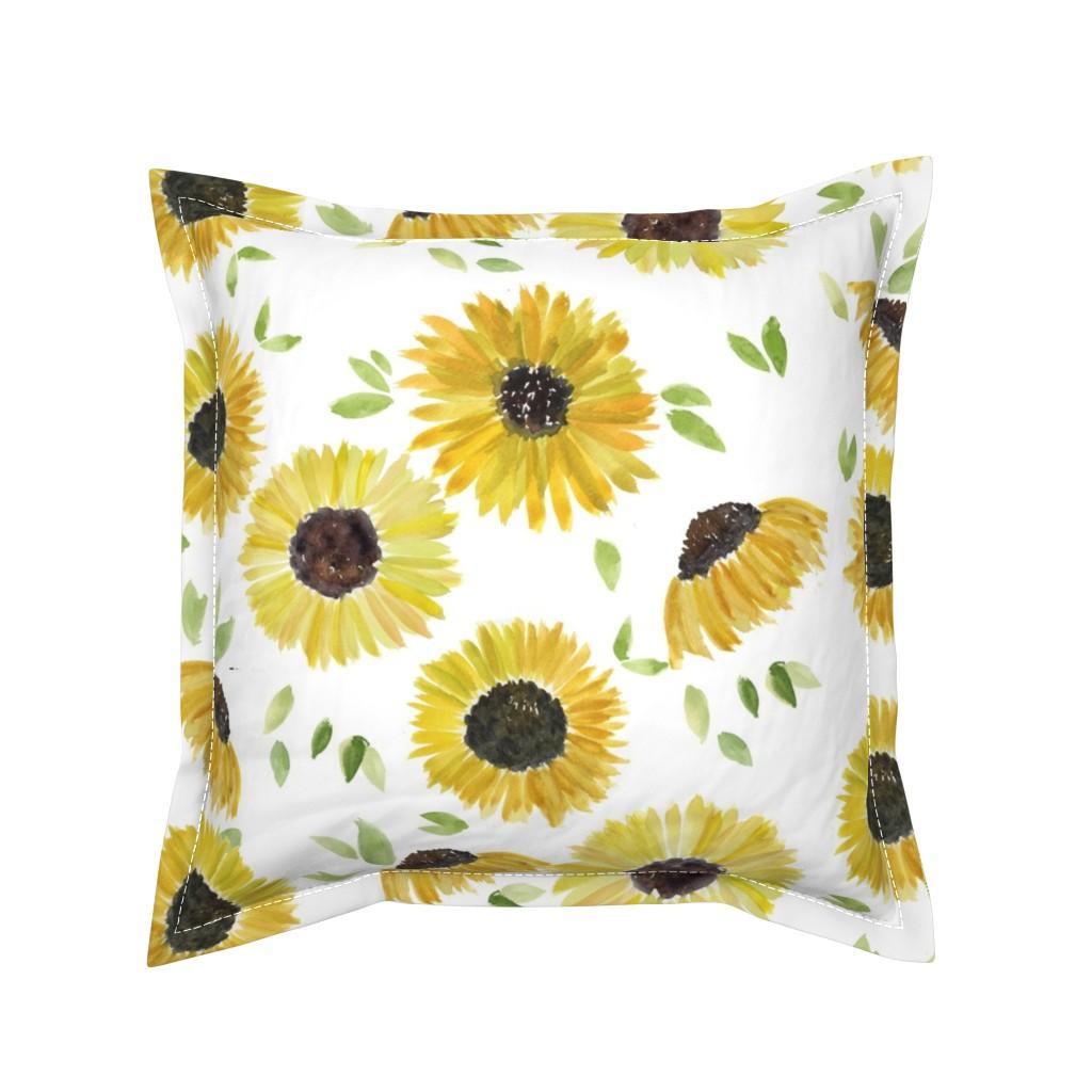 Serama Throw Pillow featuring sunflowers by rosemaryanndesigns