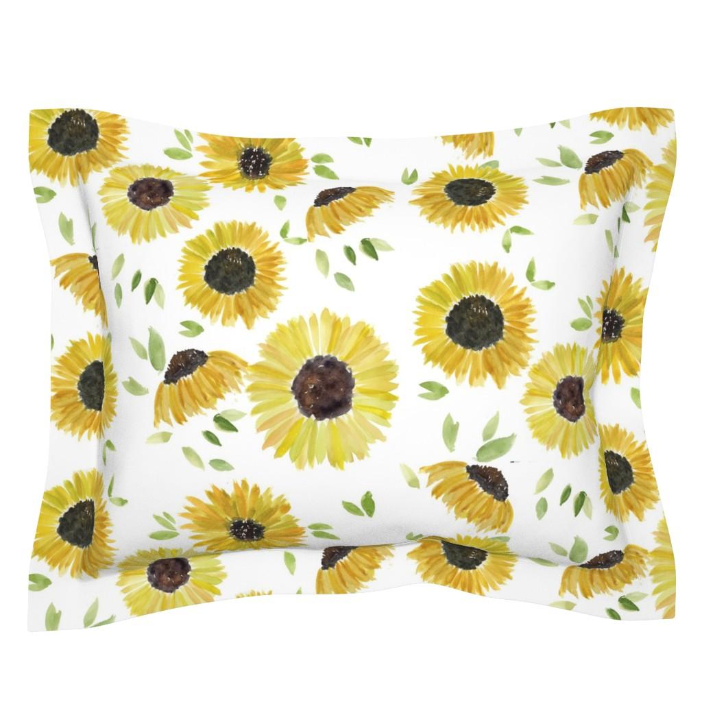 Sebright Pillow Sham featuring sunflowers by rosemaryanndesigns