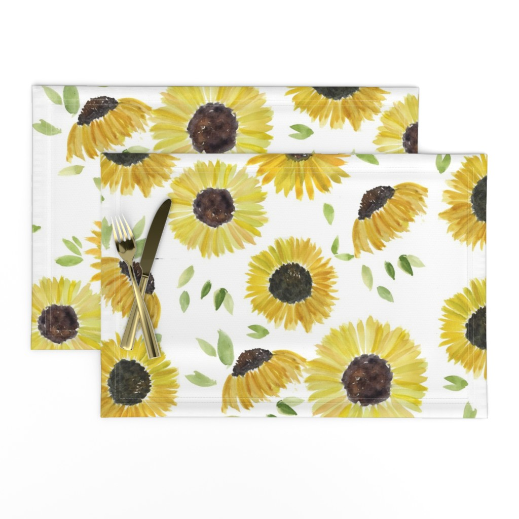 Lamona Cloth Placemats featuring sunflowers by rosemaryanndesigns