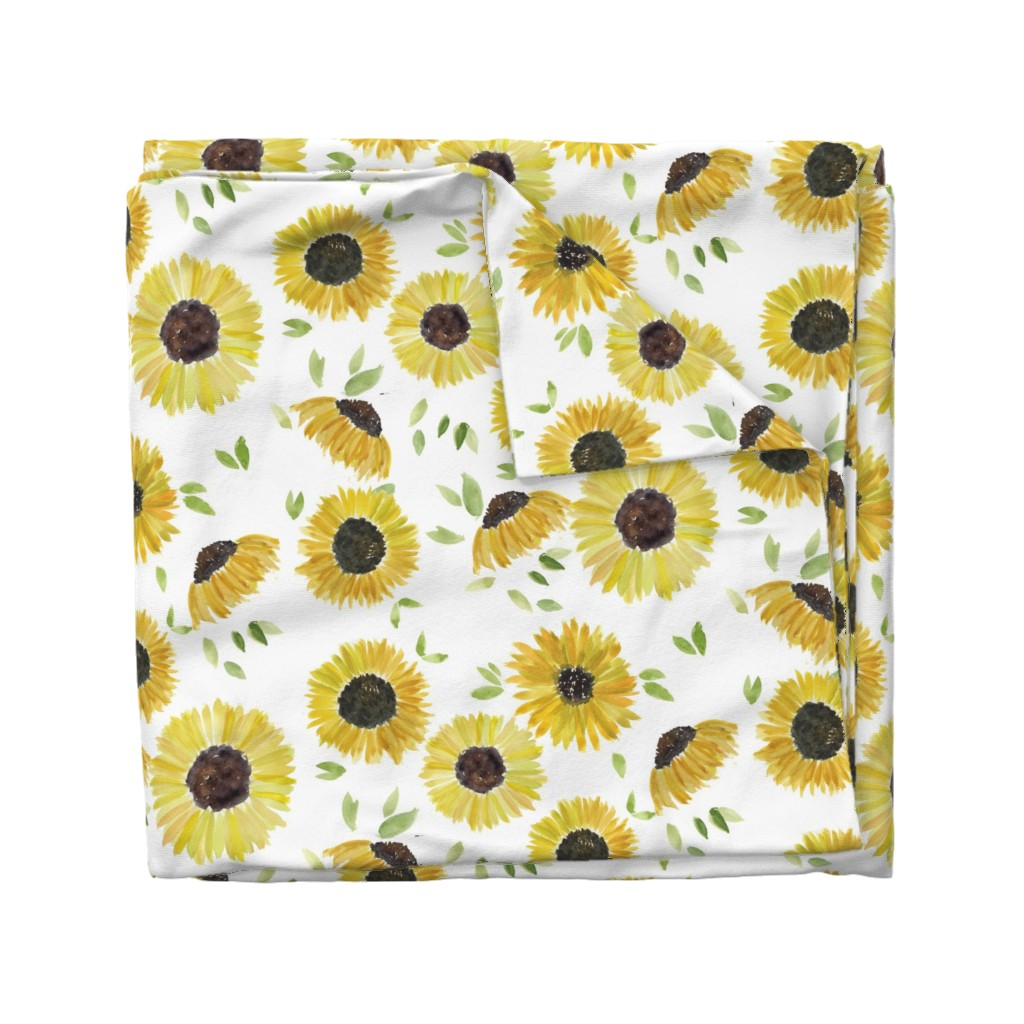 Wyandotte Duvet Cover featuring sunflowers by rosemaryanndesigns