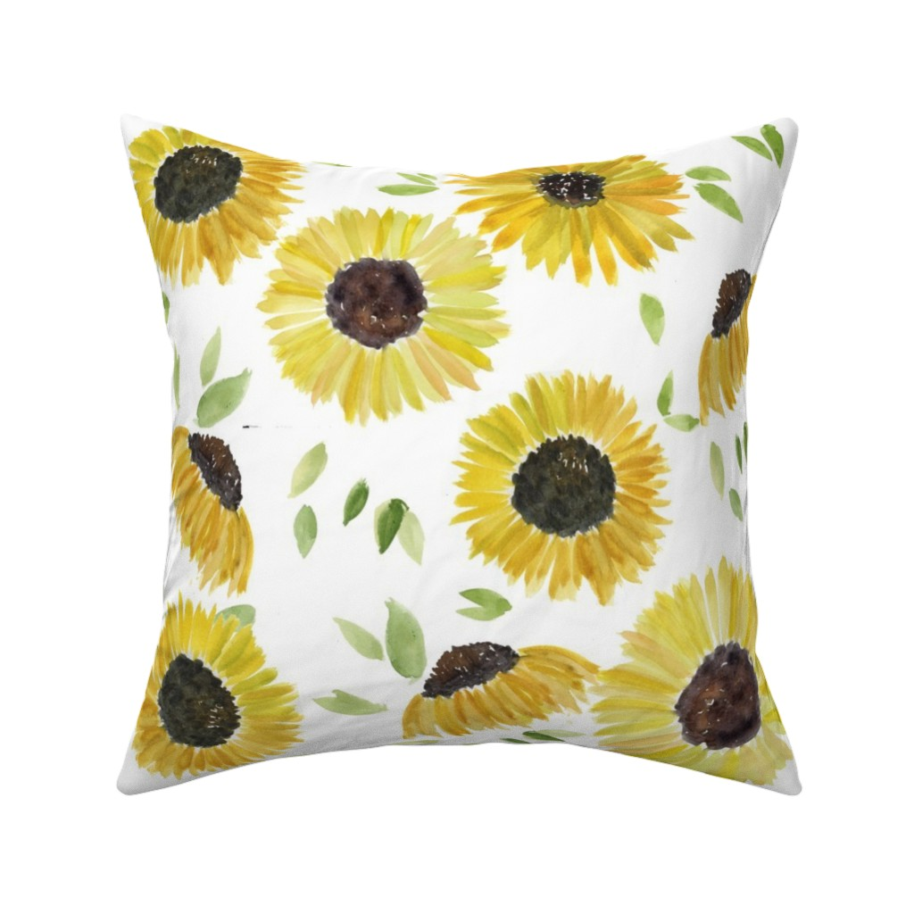 Catalan Throw Pillow featuring sunflowers by rosemaryanndesigns