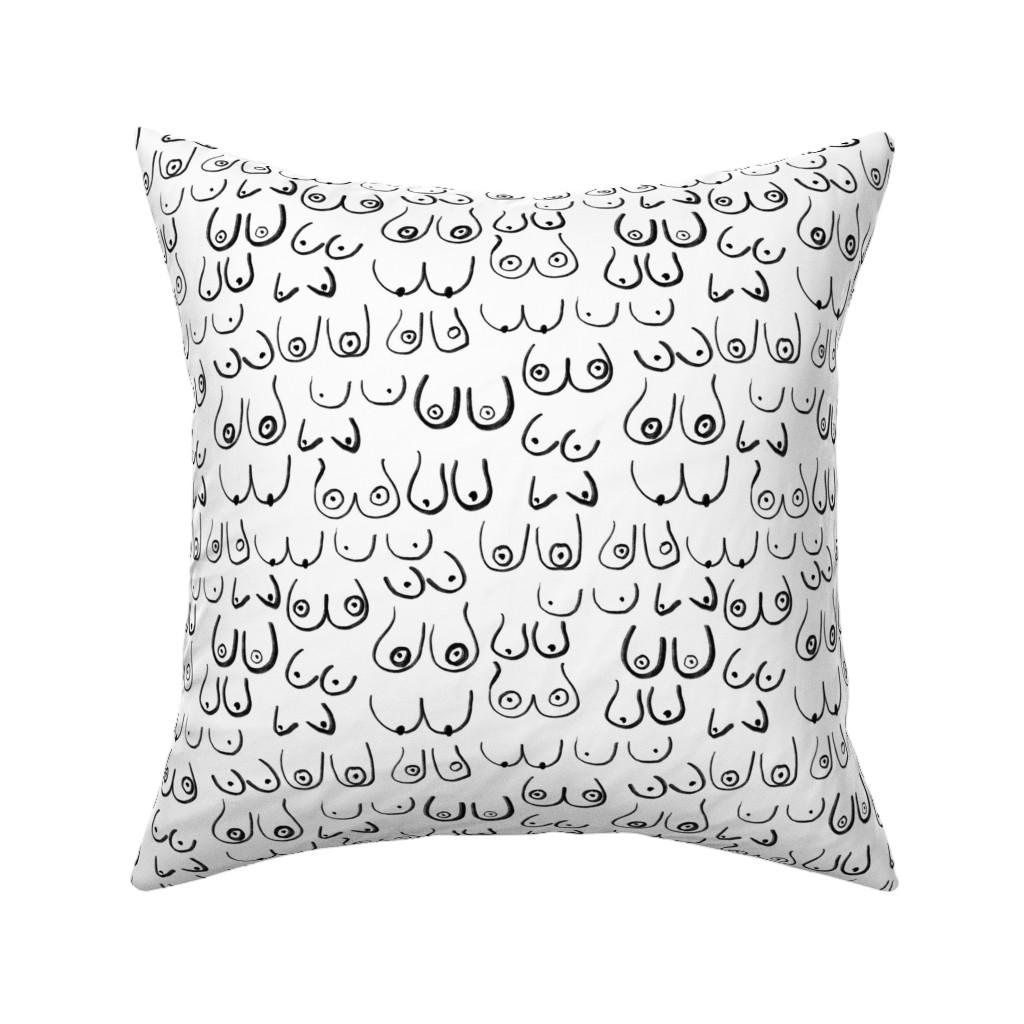 Catalan Throw Pillow featuring boob fabric - black and white boob design, feminine, feminist, lady, black and white fabric by charlottewinter