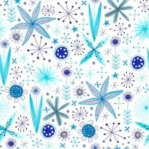 blue sparkly floral pattern