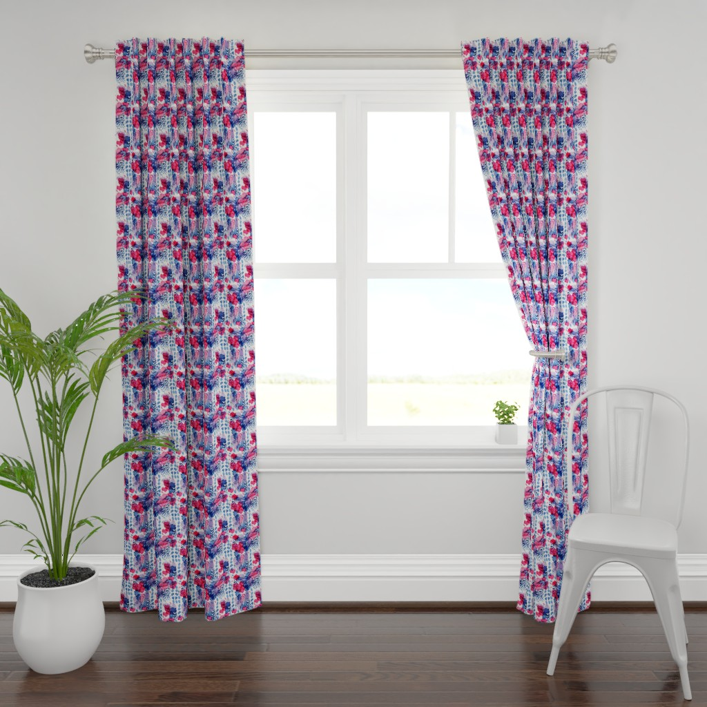 Plymouth Curtain Panel featuring Raining Berries by nicoletlaursen