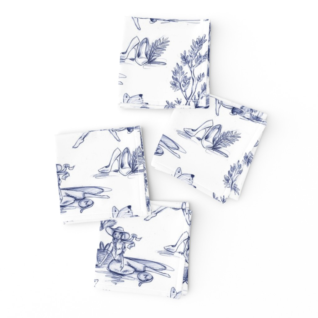 Frizzle Cocktail Napkins featuring Fashionista Toilé - blue by dorinus_illustrations