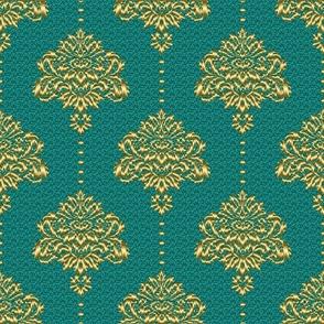 Damask Teal, Gold textured Fabric