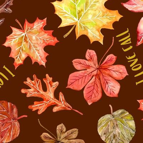 """""""I love fall"""" text w autumn leaves pattern"""
